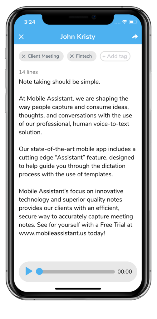 Mobile Dictation Service by Mobile Assistant - Typed in America